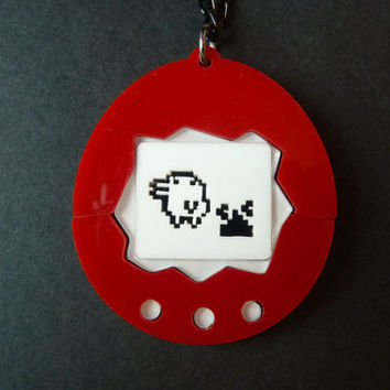 3D Tamagotchi Red Acrylic Necklace