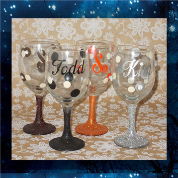 Bling Polka Dots - pilsner glass - champagne glasses - wine glasses - bridal party glasses - wedding party glasses - birthday glitter glass