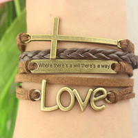 monogram bracelet--cross love bracelet,retro bronze charm bracelet,courage bracelet,brown braid leather bracelet