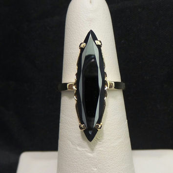 Vintage Solid 14K Yellow Gold Marquise 27mm Hematite Ring - Size 6