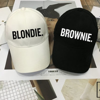 BROWNIE and BLONDIE Hat set - Matching Baseball hat , Girl friends Gift , Couples Hats, Honeymoon, Low-Profile Baseball Cap Baseball Hat