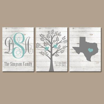 Family Tree Wall Art, White Wash Wood, Farmhouse Monogram CANVAS or Prints, Wall Decor Wedding Gift, Name Date Tree Birds State Set of 3