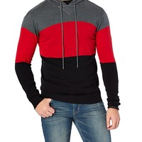 Red/Black Colorblock Hooded Sweater Pullover