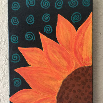 Sunflower, sunflower picture, Original Acrylic painting, sunflower painting, flower art, black art, orange wall art, colorful room decor
