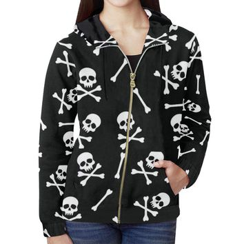 Skull Pattern Women's All Over Print Full Zip Hoodie