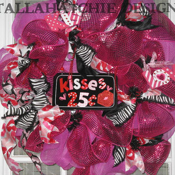 Valentine's Day Deco Mesh Wreath Kisses Valentine Wreath Pink Valentine Wreath With Animal Print Ribbon