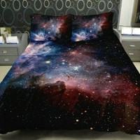 Anlye Colored Star Twinkling Bedding Set 2 Sides Printing Colored Star Duvet Coverstar Twinkling Bed Linen Sheets with 2 Matching Nebula Pillow Cases Queen