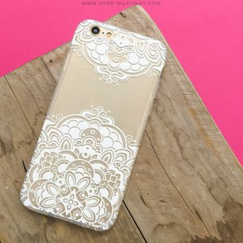 Lola Floral Henna Paisley - Clear TPU Case Cover Phone Case