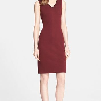 Women's St. John Collection Milano Knit V-Neck Sheath Dress,