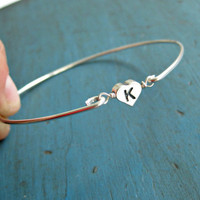 Personalized Initial Bracelet Sterling Silver Bangle Bridesmaid Jewelry Flower girl Gift Personalized gifts