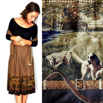Hound Dog Skirt, Thanksgiving Outfit, Houndstooth Basset Hound Brown Midi Skirt, Medium