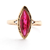 Antique 14K Rose & Yellw Gold Ring - Edwardian Red Pink Stone Fine Jewelry / Magnificent Marquise