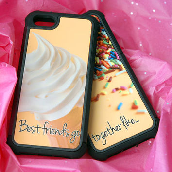 Two Matching Best Friends Hybrid Phone Cases, Ice Cream Sprinkles iPhone 4, 4s, 5, 5s, 5c, 6, 6s, 6 Plus, 6s Plus Case, Galaxy S4, S5, Case