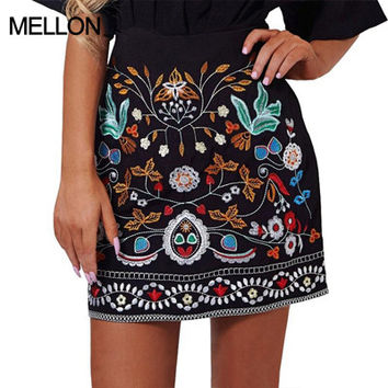 Retro embroidery black floral short skirt Casual autumn winter high waist slim women skirt Vintage 90's mini skirts