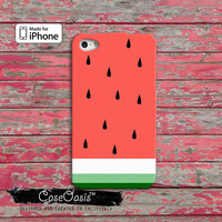 Watermelon Fruit Cute Pink and Green Funny Custom iPhone 4 and 4s Case and Custom iPhone 5 and 5s and 5c Case