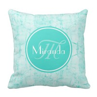 Trendy Aqua Mint Crackle Pattern With Monogram Throw Pillow