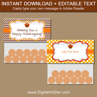 Thanksgiving DIY Bag Toppers - Thanksgiving Party Favors - Happy Thanksgiving Treat Bag Toppers - Instant Download Thanksgiving Topper T4