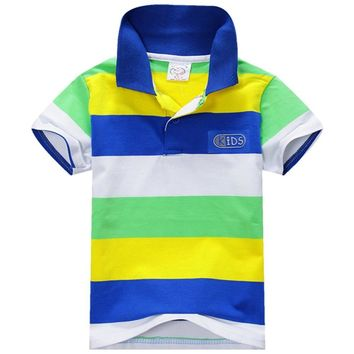 1 Piece Summer Boys Multi Color Short Sleeve Striped Cotton Tops Boy Clothes T Shirt Camisa 2017