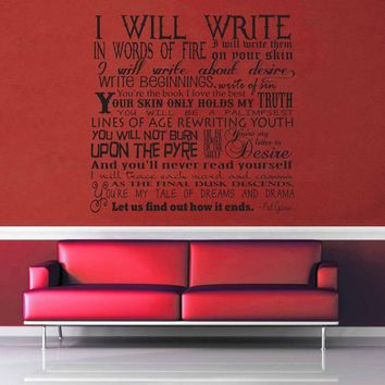 Words of Fire - Neil Gaiman Quote - Wall Decal$19.95
