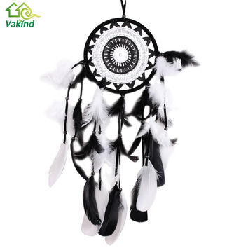 Indian Style Handmade Dreamcatcher  Black with White Lace Dream Catcher Flower Design Wall Car Hanging Decoration Ornament Gift