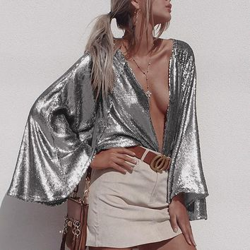 Metallic Deep V With Angel Wing Sleeves Celebrity Styled Blouse