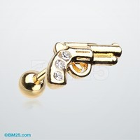 Golden Sparkle Pistol Cartilage Tragus Earring