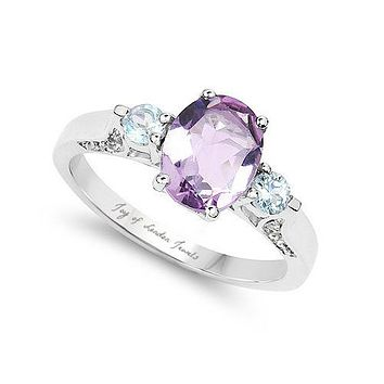 A Natural 1.6CT Oval Cut Rose de France Pink Amethyst Swiss Blue & White Topaz Ring