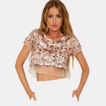 CWLSP Sequined T-shirt With Lace Women Summer New Shiny Crop Top tshirt women Sexy Tee O Neck 3 Colos poleras de mujer QL2946
