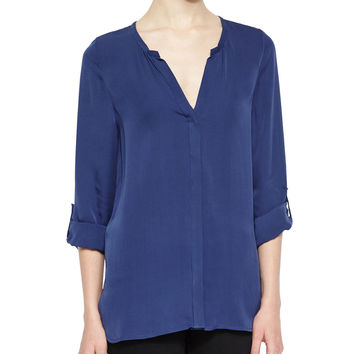 Kahari 3/4-Sleeve Silk Top, Dark Navy, Size: