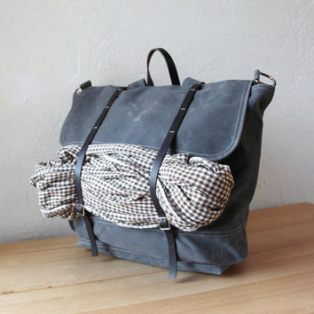 The Rucksack // Backpack  in Graphite Waxed Canvas and by infusion