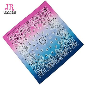 VDOGRIR 100% Cotton Rainbow Paisley COTTON Head Wrap Headband Durag Bandanna Summer Biker Scarf Mask New Gradient color Bandana