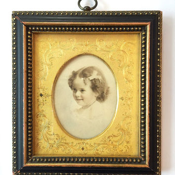 Vintage Picture Frame / Antique Victorian Mini Frame Hand Colored Photo Little Girl Child / Miniature Gold Gilt Mat / Small Black Gold Wood