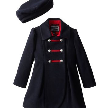 Rothschild Midnight Faux Wool Petal Front Military Coat With Hat