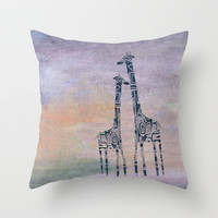 giraffes Throw Pillow by Marianna Tankelevich