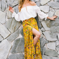 Yellow Floral Long Sleeve Skirt with Slit