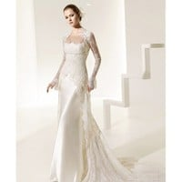 Classic Silk Sheath Wedding Gown with Detachable Long Sleeves and Clingy Long Dress - Star Bridal Apparel