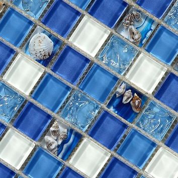 natural  sea shell in blue glass mosaic tiles 12x12