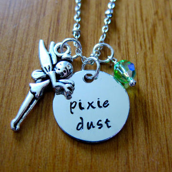 "Disney's ""Peter Pan"" Inspired Tinkerbell Fairy Necklace. Pixie Dust. Hand Stamped Charm Pendant, Swarovski crystal, for women or girls."