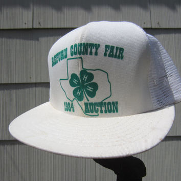 1984 Refugio County Fair Trucker Hat // 80s White 4H Farmer Hat // Vintage Texas Trucker Cap // Made in USA