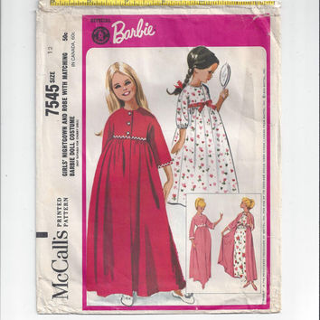 McCall's 7542 Pattern for Girls' Nightgown & Robe with Matching Barbie Doll Costume, From 1964, Girls' Size 12, Official Licensed Barbie