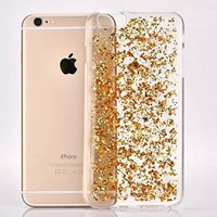 iPhone 6 Case, iPhone 6S Case, Luxury Soft Bling Glitter Sparkle Hybrid Bumper Case with Liquid Infused with Glitter and Stars For Iphone 6/Iphone 6S - (Gold)