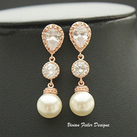 Bridal Pearl Earrings Gold CZ Sparkle Wedding Jewelry - Vivian Feiler Designs | Wedding Jewelry |