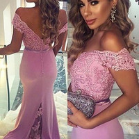 Elegant Purple Long Prom Dresses with Lace