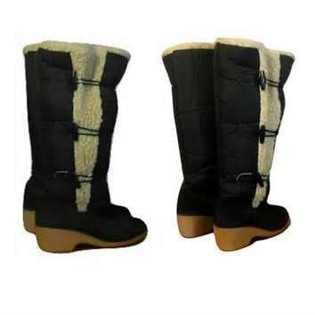 Women's Boots, tall boots, winter boots, snow boots, Sherpa, toggle, leather, boots, shoes