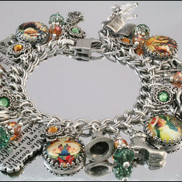 Witches Silver Charm Bracelet, Halloween Witch Jewelry, Magic Potion, Vintage Inspired Jewelry