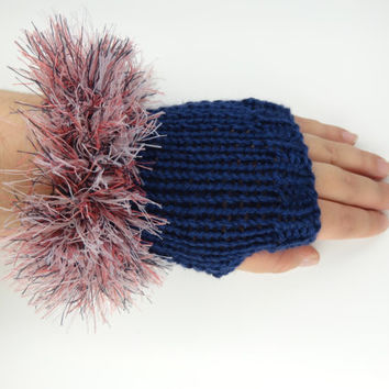 Fingerless Gloves , Navy  Fuzzy  Trim