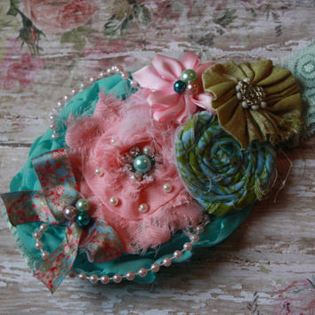 GIRL HEADBAND, baby, toddler, shabby, floral, ooak, ott, lace, stacked flowers, chic, easter, Spring headband, bow, photo prop, eleanor