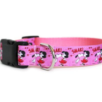 Valentines Day Lucy and Snoopy Dog Collar