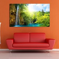 canik80 Canvas Print Artwork Stretched Gallery Wrapped Wall Art Painting beautiful waterfall Size 26x47""