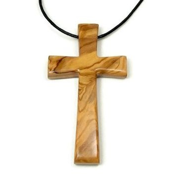 Large Cross Necklace for Men Handmade from Bethlehem Holy Land Olive Wood, Large Wooden Cross Pendant for Men, Religious Gifts, Gift for Him